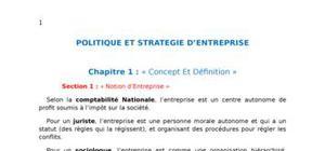 Politique et strategie d'entreprise