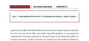 « autorégulation des marchés vs la politique keynésienne : analyse critique »