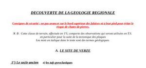 Decouverte de la geologie regionale