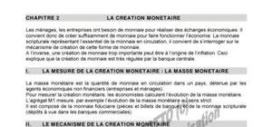 La creation monetaire