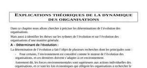 Explications theoriques de la dynamique des organisations