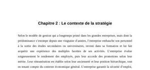 Le contexte de la stratégie