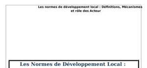 Les normes de développement local :