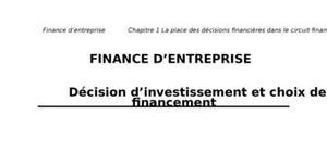 Décision d'investissement et choix de financement