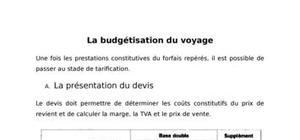 La budgétisation du voyage