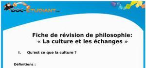 Fiche de révision et cours de philosophie : la culture et les échanges