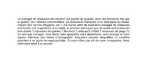 Lettre de Motivation Manager de restaurant