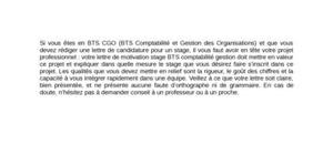 Lettre de Motivation Stage BTS CGO