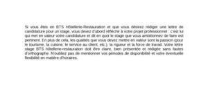 Lettre de Motivation Stage BTS Hôtellerie-Restauration