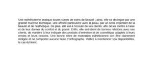 Lettre de motivation esthéticienne