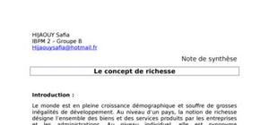 Note de synthese: le concept de richesse