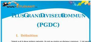 PGCD - Plus Grand Diviseur Commun : Cours Terminale S