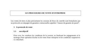 Les procedures de vente d'entreprise
