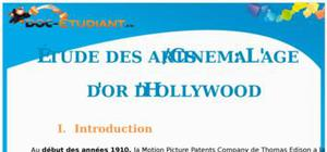 L'âge d'or d'Hollywood : Cours Terminale L