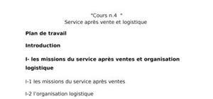 Service après vente et logistique