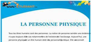 La Personne Physique : Cours Droit Première STG
