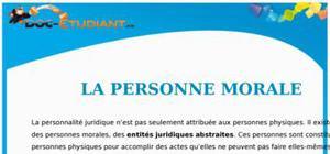 La Personne Morale : Cours Droit Première STG