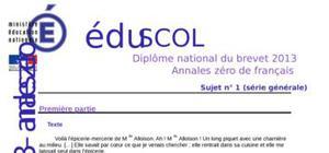 Sujet 0 Brevet Français 2013 : Exemple n° 1 (Générale)