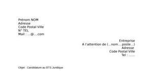 Lettre de motivation BTS Juridique