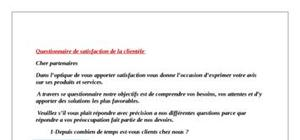 Questionnaire satisfaction de la clientele