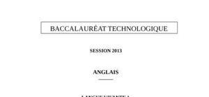 Sujet Anglais LV1 Bac STG 2013