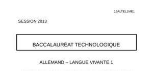Sujet Allemand LV1 Bac STG 2013