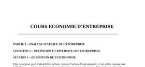 Cours d'economie d'entreprise