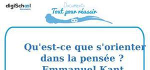 Fiche de lecture : Qu'est-ce que s'orienter dans la pensée ? - Emmanuel Kant