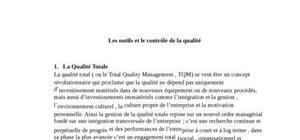 Les outils et le contrôle de la qualité