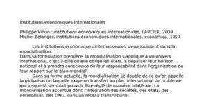 Les institutions internationales économiques