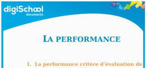 Cours de management : la performance