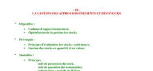 Gestion d'approvisionement
