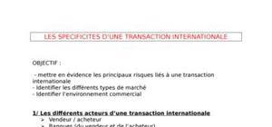 Spécificités transactions internationales