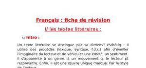 Fiche de révision sur textes littéraires
