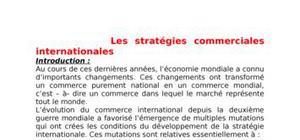 Les stratégies commerciales internationales