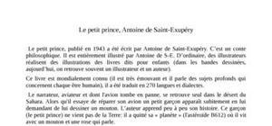 Le Petit prince de Saint Exupéry