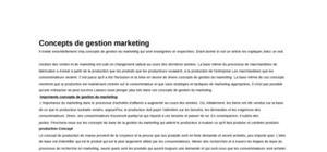 Concepts de Gestion Marketing