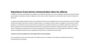La Communication dans les Affaires - Cours de Communication