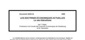 Les doctrines Économiques actuelles  le néo-libéralisme