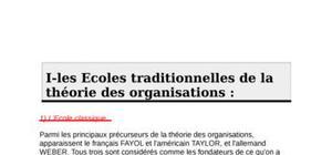 Les écoles traditionnelles de la théorie des organisations