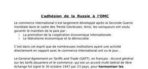 L'adhésion de la Russie à l'OMC