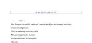 Présentation du plan marketing