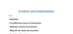 Etudes documentaires