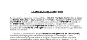 Introduction sur la structure de l'entreprise