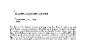Le financement du secteur privé