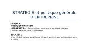 Stratégie et politique générale d'entreprise (PGE)