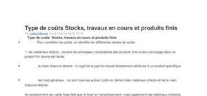 Stocks et travaux en cours