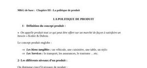 Mix-Marketing - La politique Produit - Cours de Marketing
