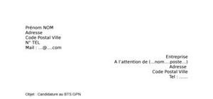 Lettre de motivation BTS GPN