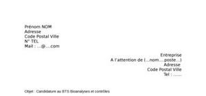 Lettre de motivation BTS Bioanalyses